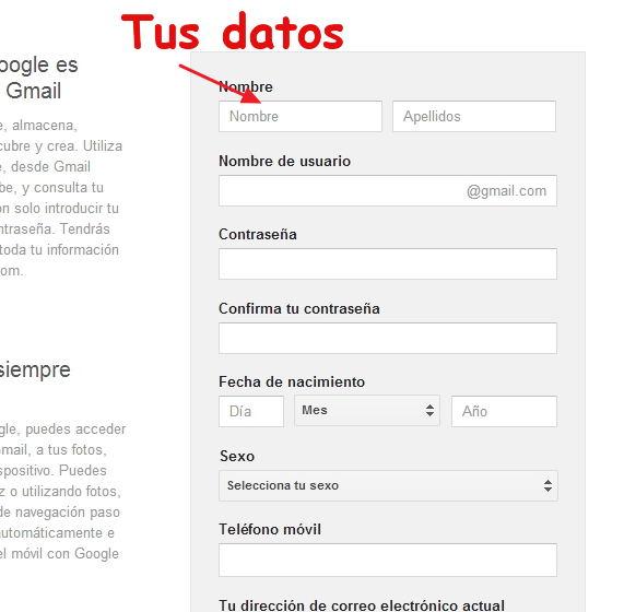 formulario de crear cuenta en gmail