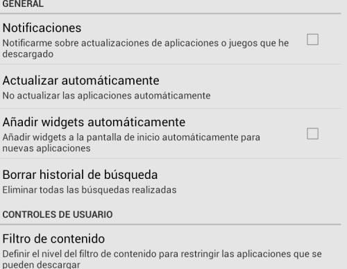 configuracion en google play