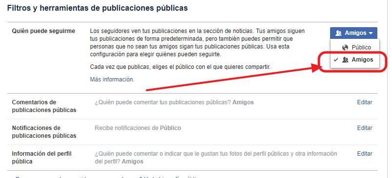 Desactivar seguidores facebook nueva forma