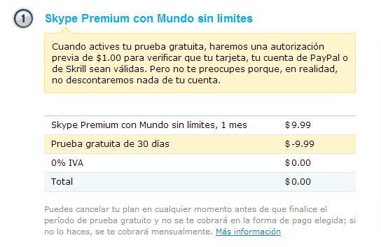 activar skype premium gratis