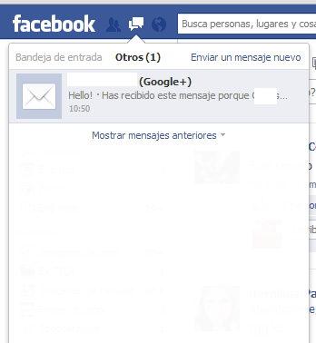 mensaje desde Google plus a facebook