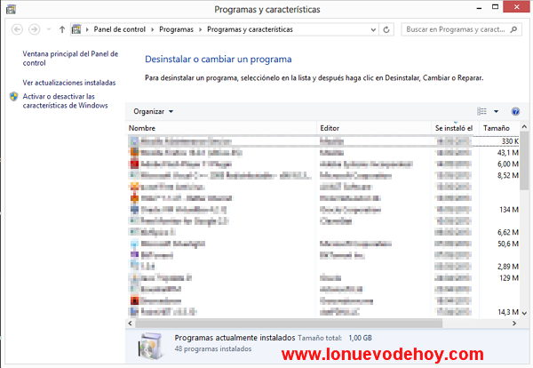 programas instalados en Windows 8