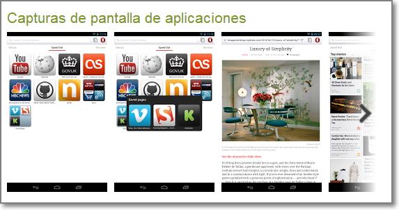capturas de pantalla de opera android