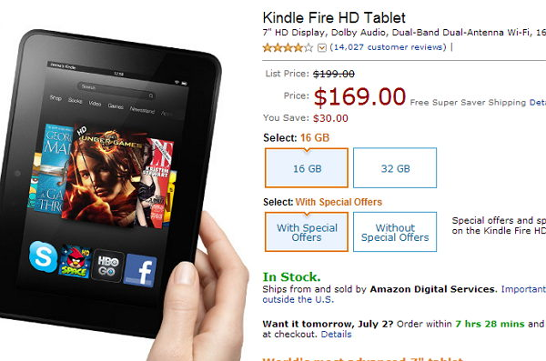 oferta del kindle fire hd