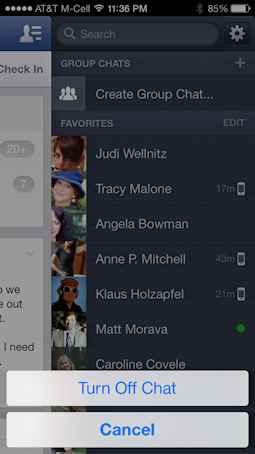 cerrar chat de facebook en el iphone 4