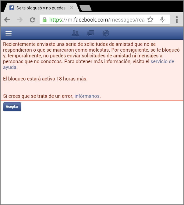 Faceboook no deja enviar mensajes privados 2