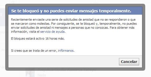Faceboook no deja enviar mensajes privados