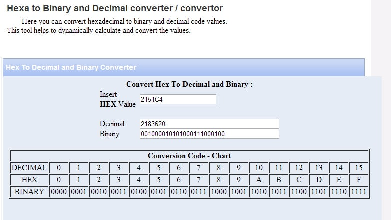 de hexadecimal a decimal online