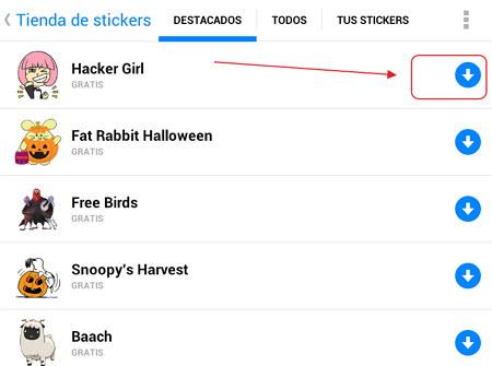 Bajar stickers para Facebook Messenger