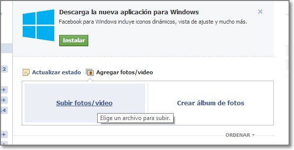 Subir fotos a Facebook