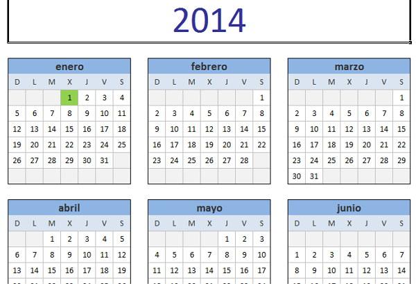 Calendario para imprmir  2014