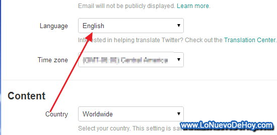 Cambiar de idioma a Twitter