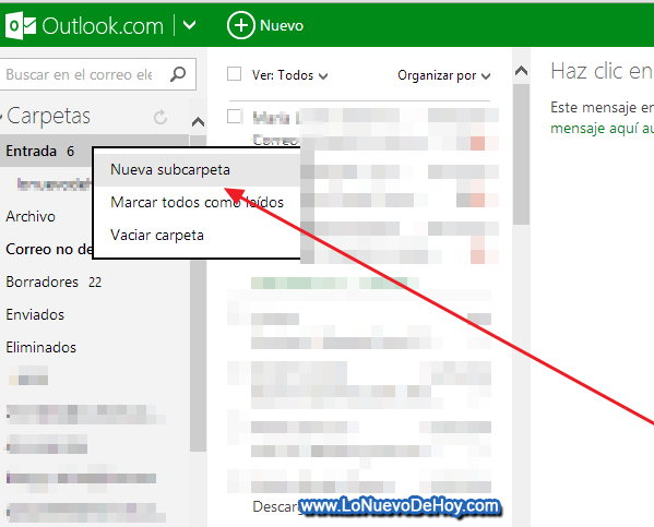 Crear una carpeta en Outlook