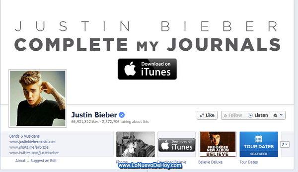 Justin Bieber en Facebook