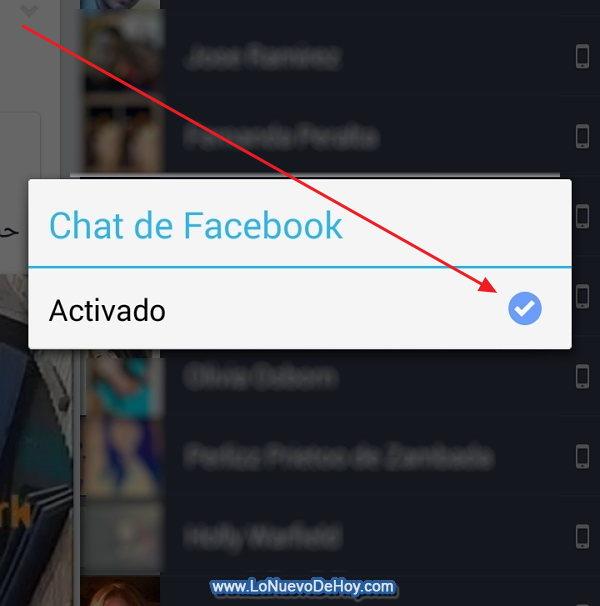 Activar el chat del celular en Facebook