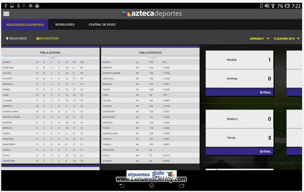 Azteca deportes para Android 2