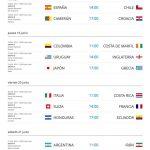 Calendario para partidos para Brasil 2014 (Mundial)