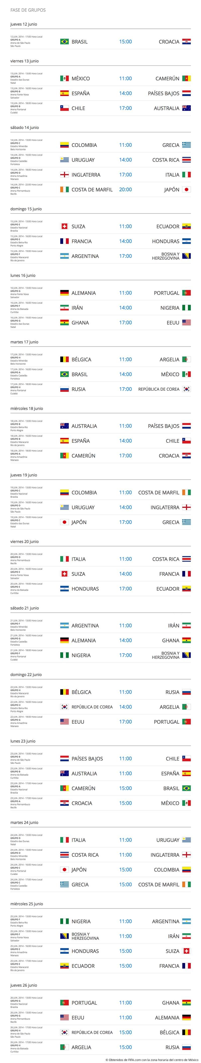Calendarios para el Mundial 2014 Brasil