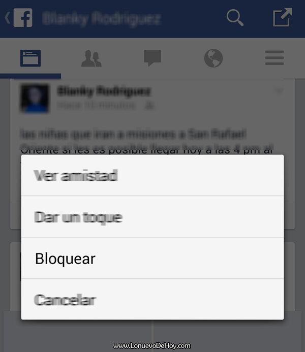 Bloquear en Facebook un usuario