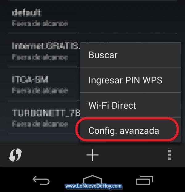 Configuracion Avanzada Wifi Android 4.4