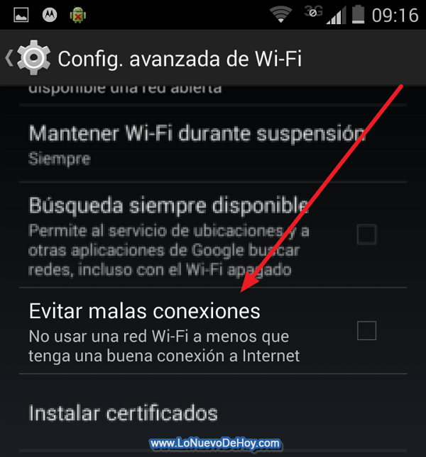 Configuracion de Wifi Android 4.4