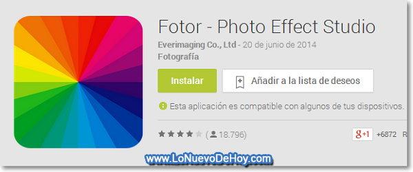 Fotor para Android