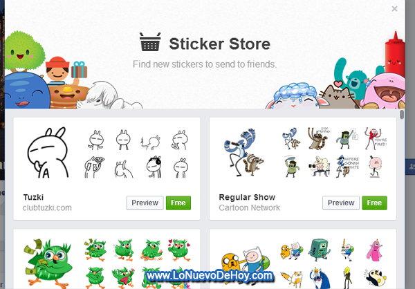 Stickers para Facebook gratis