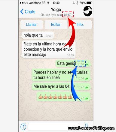 Ocultar la hora en Whatsapp