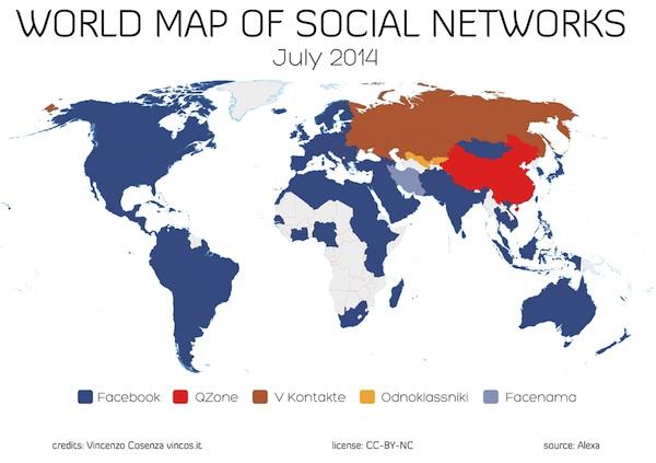 Paises y continentes donde Facebook es mas popular