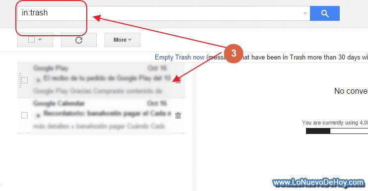 Carpeta de correos borrados gmail