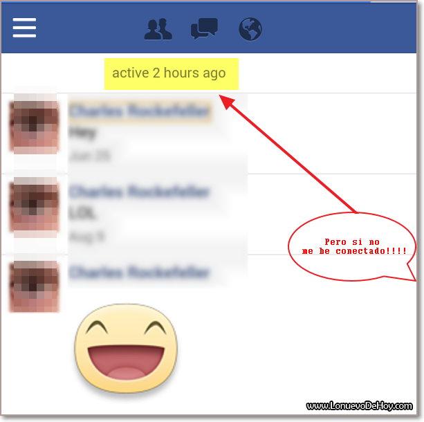 Contacto en Facebook hace minutos