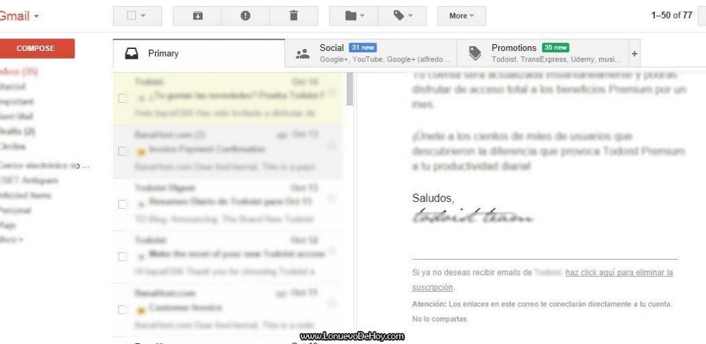 Desinscribirse de una lista en gmail