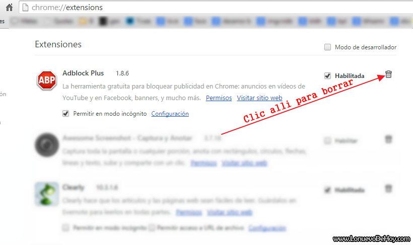 Eliminar Adblock plus Chrome
