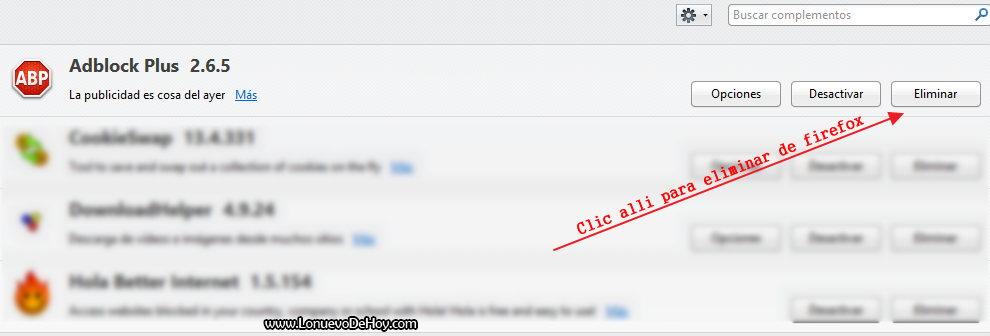 Eliminar Adblock plus de Firefox