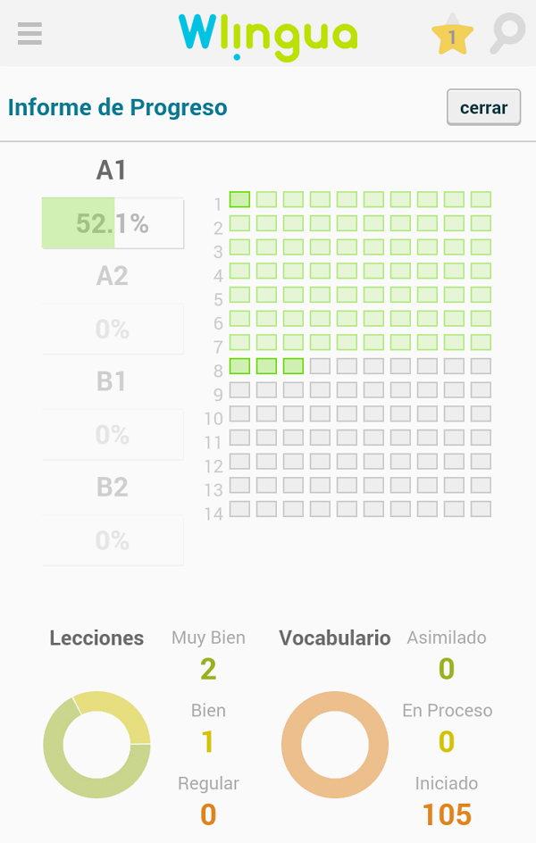 Esta es la app en Android, muy buena donde los usuarios pueden ver el progreso, las notas que han ido sacando en cada leccion.