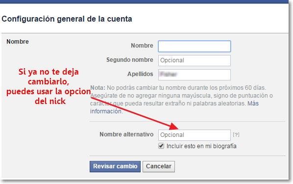 cambiar el nombre en Facebook