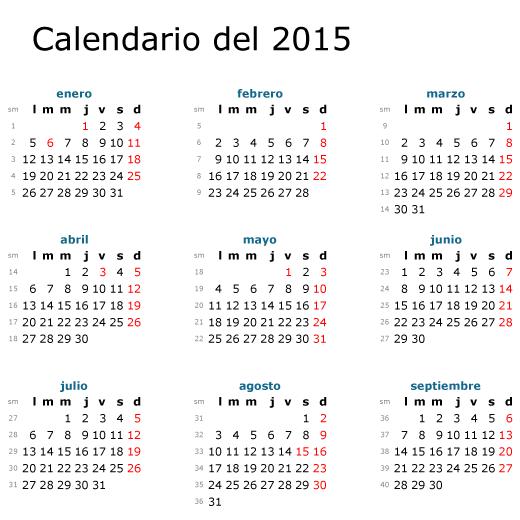 Calendario 2015 en Español