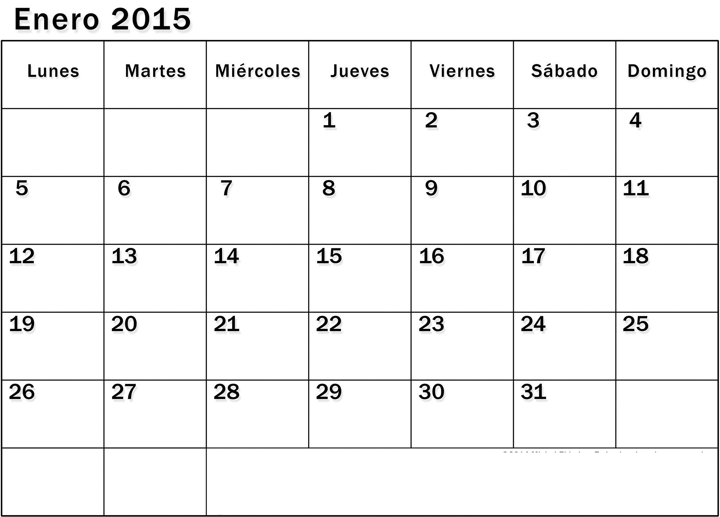 Calendario de enero 2015 para imprimir o descargar lo - Calendario 2017 para imprimir por meses ...
