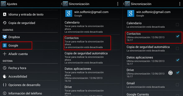 Sincronizacion de Google Android