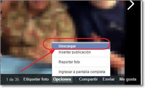 Descargar una foto de facebook