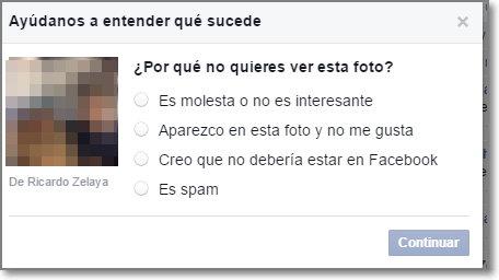 Reportar una foto facebook opciones