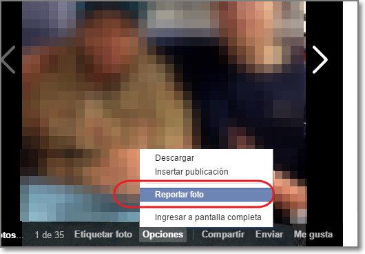Reportar una foto facebook
