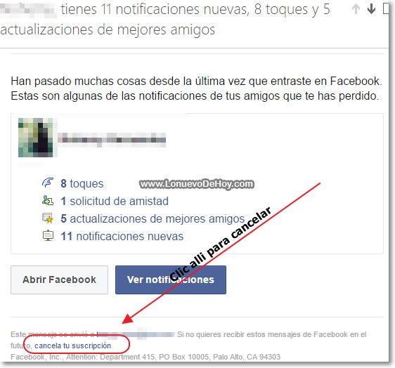 Cancelar correos de facebook