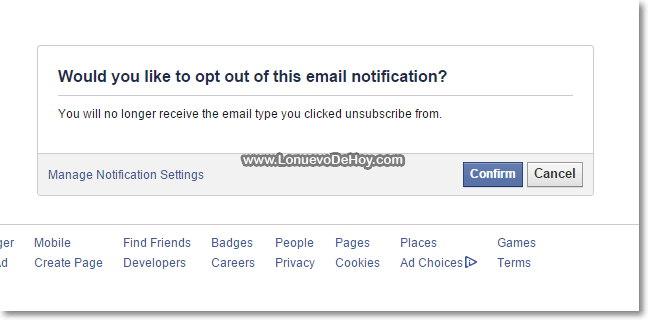 quitar correos de facebook