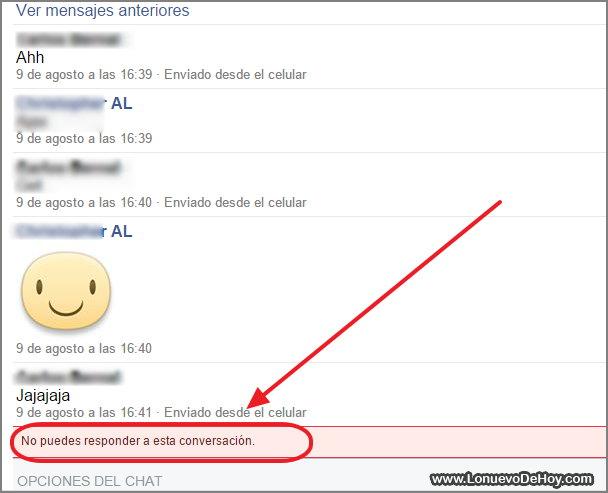 No se puede responder un mensaje Facebook