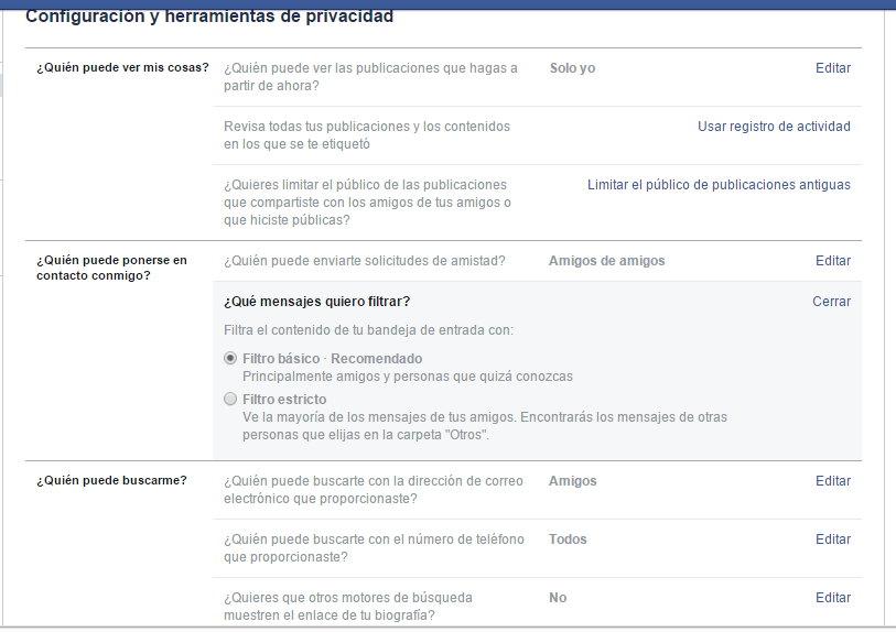 Poner Facebook en privado