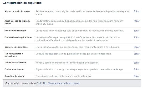 Configuración de seguridad de Facebook