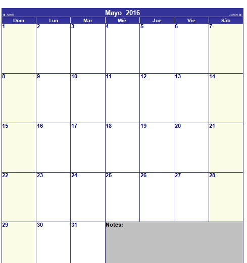 Calendario de mayo 2016
