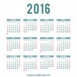 Calendario por meses 2016 gratis