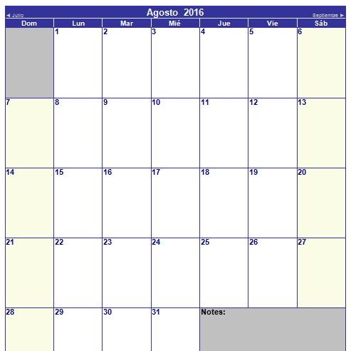 calendario de agosto 2016